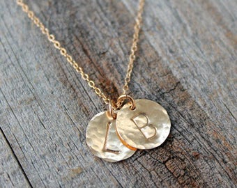 JUST THE DISC, extra gold filled or sterling silver hammered initial disc, letter disc, add to existing necklace, add a disc