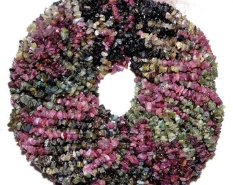 50% OFF 3 Strands Natural Multi Tourmaline Uncut Chips - 34 Inches Long Strand