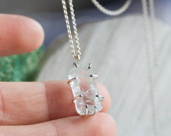 Raw Aquamarine crystal necklace - sterling silver, March birthstone necklace