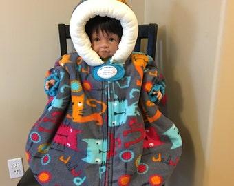Infant Car Seat Poncho (Skinny Kitties) - Size Medium