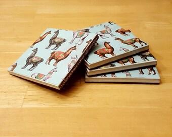 Coasters, Llama Decor, Coaster Set, Tile Coasters, Housewarming Gift, Home Decor, Gift Idea, Ceramic Tile Coasters, Birthday Gift
