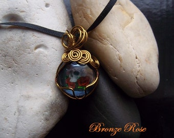Handmade wire wrapped gothic skull and roses glass nugget necklace