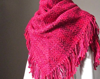Knit Triangle  Blanket Scarf in Red Winter Chunky Maxi Shawl Wrap with Fringe Women scarves scarfs Gift for Woman
