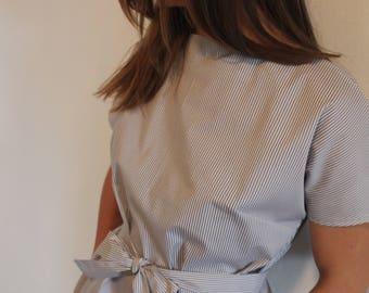 Midi striped belted dress