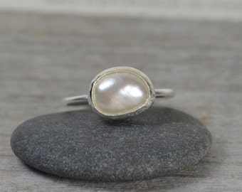 Large Freshwater Pearl Stacking Ring, Pearl Engagement Ring, Stackable Pearl Ring, Bridal Ring, June Birthstone Pearl Ring, Wedding Gift