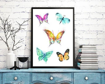 Watercolor print, butterflies art, butterfly print, nature artwork, colorful decor, baby gift, watercolor butterfly, nursery print - 243