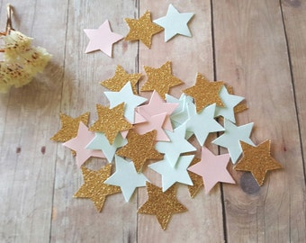Twinkle Twinkle Little Stars/Gender Reveal Confetti/Baby Shower decor/Pink and blue/Gold star confetti/Frist birthday confetti/Baby Confetti