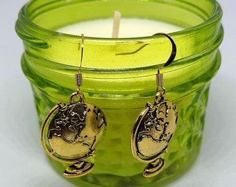 Gold globe earrings - World Map - Quirky earrings - Nickel Free earrings - Wanderlust - Fun earrings - Dangly earrings - Gift for traveling