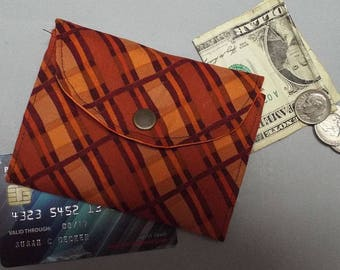 Mini Wallet, Small Wallet, Womens Small Wallet - Brown Plaid Cotton Fabric