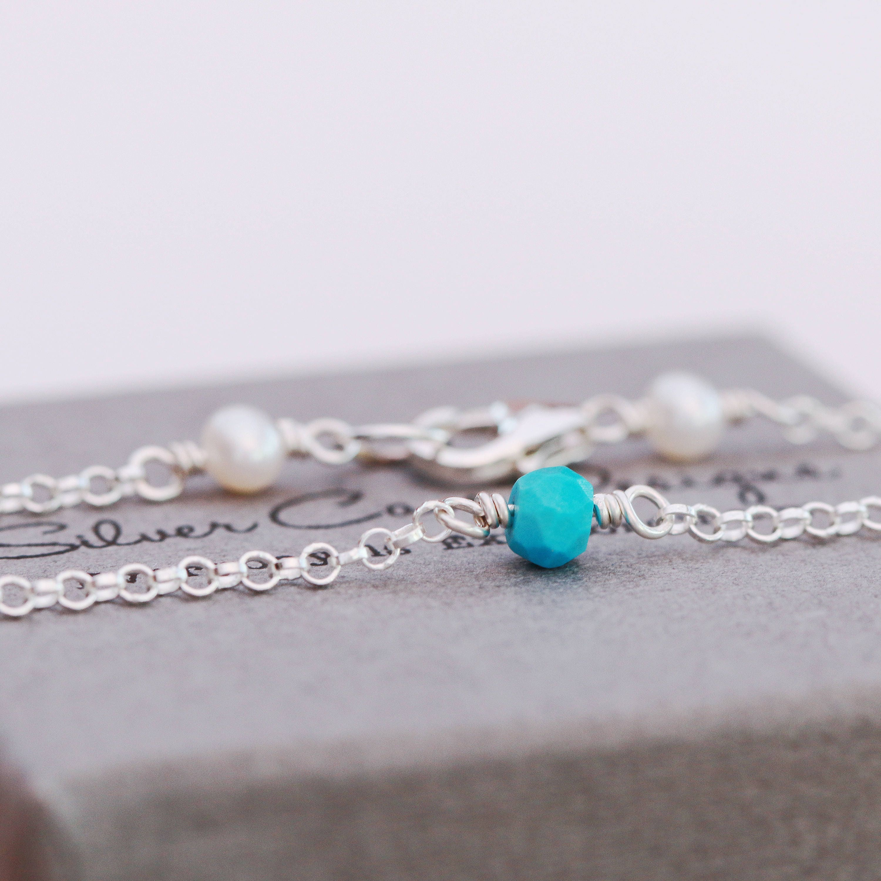 il and evbe ankletturquoise sterling anklet birthstone turquoise pearls gallery listing photo silver fullxfull
