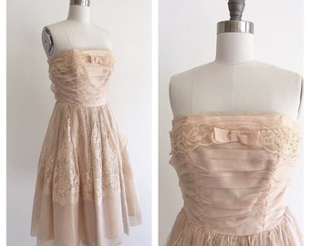 Vintage 1950s Blush Pink Silk Organza and Lace Strapless Party Dress with Bow Detail