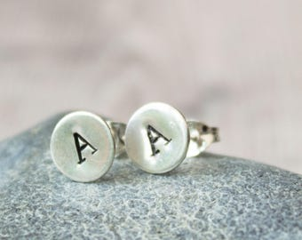 Recycled Sterling Silver Personalised Initial Stud Earrings,Stamped studs, letter earrings, keepsake gift, Valentine's Day gift
