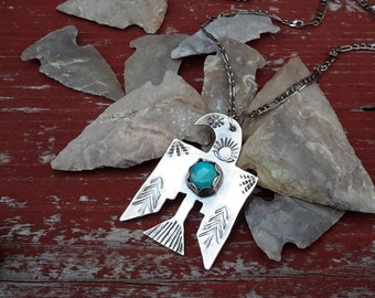 Free Spirit Native American Inspired Thunderbird Sterling Silver Turquoise Pendant Totem Talisman PNW Tribe Symbol Necklace