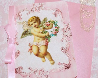Pink Christmas, Baby Announcement, Christening, Angel or Cherub Invitations or Cards with Pink Shimmer Envelopes and Angel Seals Set of Six