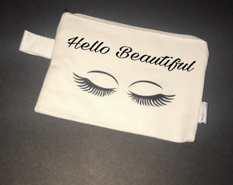 Bridesmaid Makeup Bag,Cosmetic Bag,Hello Beautiful bag, Personalized Makeup Bag, Bridesmaid Gift, Personalized Pouch, Tote Bag, gift for her