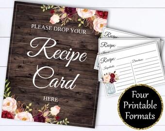 Recipe Card Drop Sign - Bridal Shower Recipe Card Sign - Recipe Card Drop Sign - Recipe Shower - Drop Recipe Card - Recipe Card Here