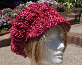 Women's Crocheted Hat with Brim - Red, Pink, Purple Boucle Newsboy Hat for Adult, Newsboy Cap