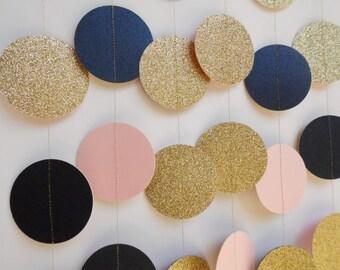 Gold Glitter, Blush Pink and Navy Blue Paper Garland, Baby Shower Decor, Bridal Shower, Wedding Reception Decoration