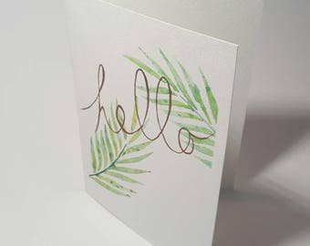 Watercolor greeting card, Hello, leaf, was