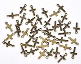 10 Tiny Antiqued Bronze Cross Charms