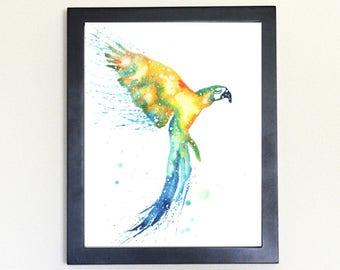 Macaw Galaxy Spirit Animal Watercolor Art Print 8x10