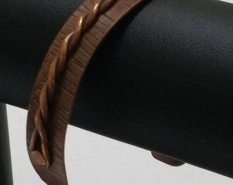 Twisted copper wire on textured copper wrist cuff, Copper wrist cuff, Copper band, Twisted wire band