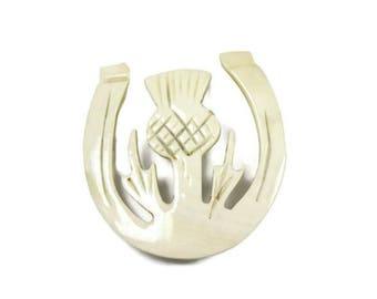 Vintage Scottish thistle brooch, horseshoe brooch, celluloid, Celtic pin, outlander, white cream, Scotland jewelry, highlander, hand made