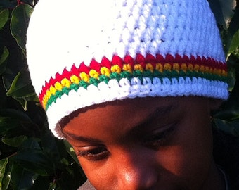 Tri-Stripe Beanie in white with red, gold and green stripes - Unisex - Small, medium or large