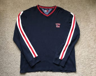 Men's Vintage 90s Tommy Jeans Hilfiger Long Sleeve V Neck T Shirt Size L/Xl