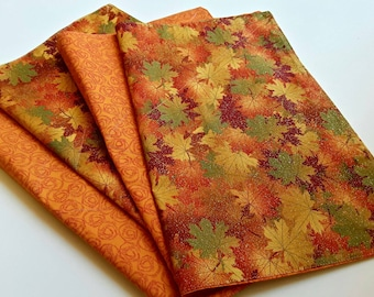 Fall Fabric Placemats, Set of 4, Autumn Decor, Thanksgiving Decor Glitter