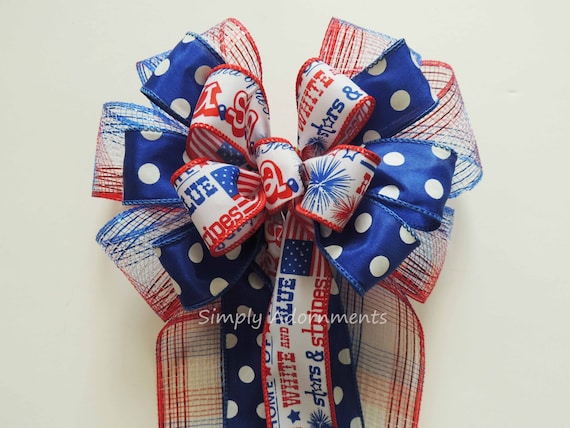 Patriotic Red White and Blue Bow, July 4th Wreath Bow, Red white and blue bow, 4th of July door hanger decor, Independence Day Decoration