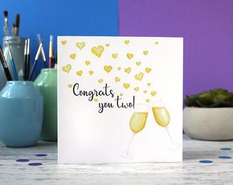 Congrats you two, Congratulations card, wedding card, congrats card, celebration card
