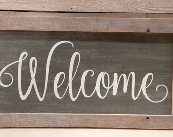 FRAMED WELCOME SIGN - Farmhouse - Aged Wall Hanging - Fixer Upper Style - Hand Painted Rustic Decor - Housewarming Gift - Distressed Sign