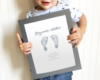 Custom Footprint Print, 16 Color Options, Baby Gift, Nursery Decor, Father's Day Gift, Mother's Day Gift, Personalized Children's Art