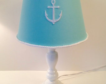 Nautical Anchor Lamp Shade Aqua With White Rope Trim (other Colors  Available For Anchor)