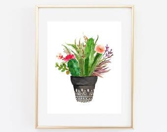 Plant Print, Succulent Print, Cactus Print, Kitchen Decor, Garden Decor, Cactus Art, Succulent Botanical Print, Cacti Wall Art, Nature Art