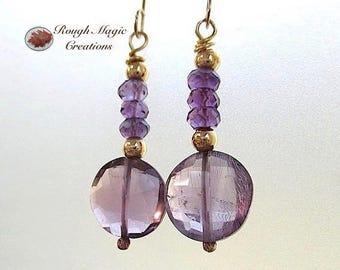 Amethyst Earrings, February Birthstone Stone, Purple Gemstone Semi Precious Dangle Drops, Gold Filled Earrings, Birthday Gift for Women E427