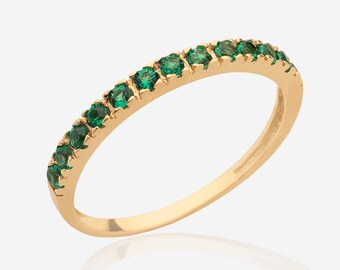 gemstone ring Stacking ring 14k Gold Filled half eternity emerald ring simple delicate multistone ring may birthstone stackable rings