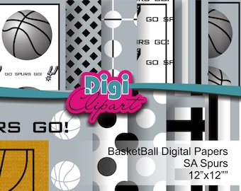 SA Spurs San Antonio Digital Paper Set 8.5x11 for Scrapbooking and Cards - INSTANT DOWNLOAD