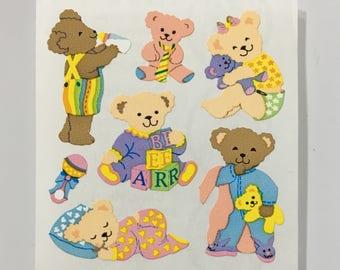Vintage Sandylion Bedtime Sleepy Teddy Bear Stickers