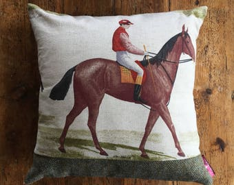 One Off Handmade Vintage Racehorse Cushion with real Harris Tweed