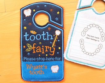 Christmas gift kids Tooth fairy door hanger, personalized tooth pocket, Please stop here, fairy money pocket, custom