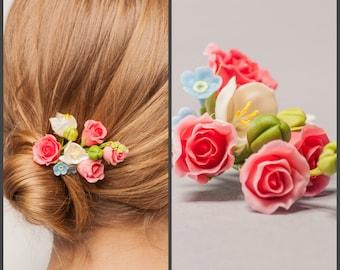 Blush Pink Rose Bridal Hair Pin, Flower Headpiece, Flower Hair Pin, Bridal Headpiece, Wedding Hair Accessories, Wedding Jewelry