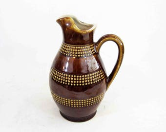 Vintage Mid Century Pottery Pitcher in Brown. Circa 1970's.