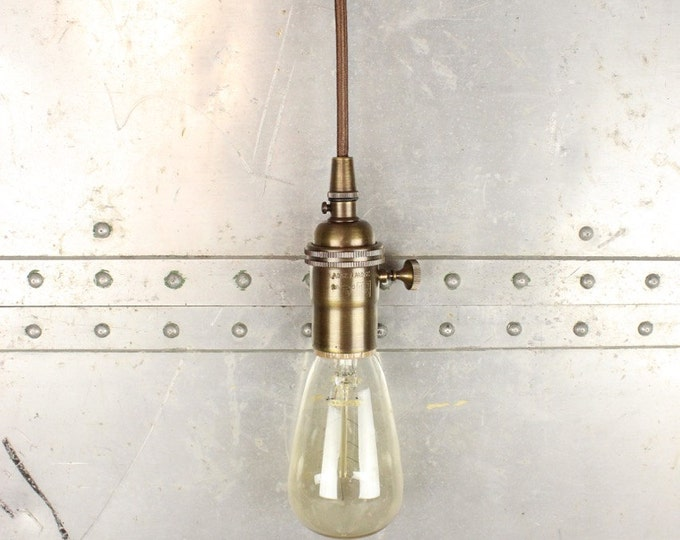 Industrial Pendant Light Antique Brass Bare Bulb Socket Edison Bulb Plug In or Canopy Rayon Cloth Covered Black Brown Wire