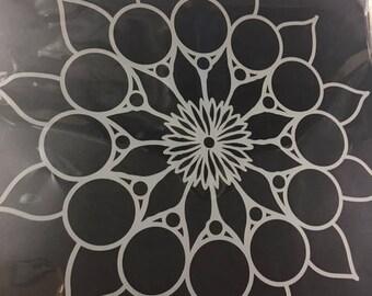 Stencil Flower, Mandala,Doily,Mixed Media, Junk Journal, Scrapbook, Texture Paste