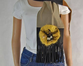 Earthy brown color block scarf with yellow felted flower.