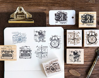 Compass Stamp, Camera Stamps, Typewriter Stamp, Luggage Stamp, Vintage Wooden Rubber Stamps, Diary Stamp Set