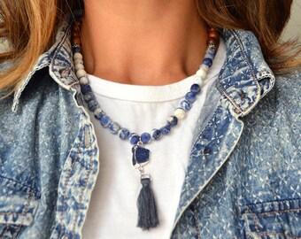 Blue Druzy Tassel Wood Necklace