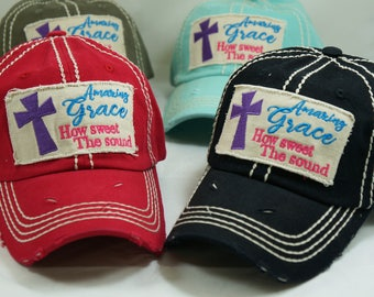 Amazing grace hat, How sweet the sound hat, distressed hat , vintage hat, embroidered hat